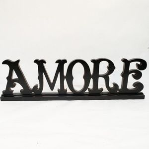 Wood Signage Amore Love Standup Home Decor Black